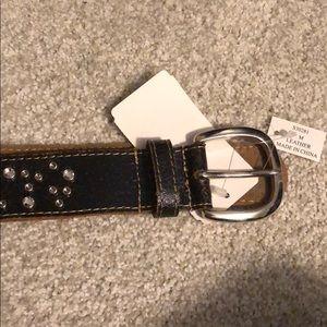 Diamond Bedazzled Leather Belt